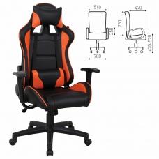 Кресло компьютерное BRABIX 'GT Racer GM-100', две подушки, экокожа, черное/оранжевое, 531925