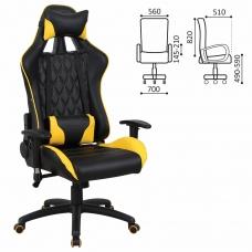Кресло компьютерное BRABIX 'GT Master GM-110', две подушки, экокожа, черное/желтое, 531927