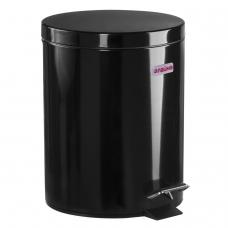 Ведро-контейнер для мусора урна с педалью ЛАЙМА 'Classic', 5 л, черное, глянцевое, металл, со съемным внутренним ведром, 604943