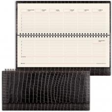 Планинг настольный BRAUBERG недатированный, 305х140 мм, 'Alligator', под матовую крок. кожу, 60 л., черный, кремовый блок, 125881