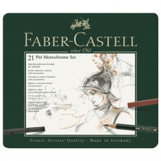 Набор художественный FABER-CASTELL 'Pitt Monochrome', 21 предмет, металлическая коробка, 112976