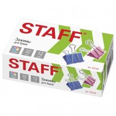 Зажимы для бумаг STAFF, КОМПЛЕКТ 12 шт., 32 мм, на 140 листов, цветные, картонная коробка, 225158