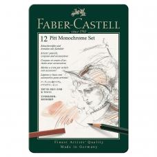 Набор художественный FABER-CASTELL 'Pitt Monochrome', 12 предметов, металлическая коробка, 112975