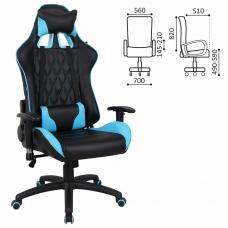 Кресло компьютерное BRABIX 'GT Master GM-110', две подушки, экокожа, черное/голубое, 531928