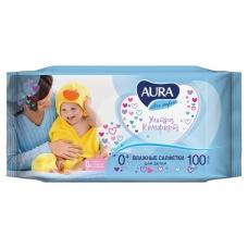 Салфетки влажные КОМПЛЕКТ 100 шт., для детей AURA 'Ultra comfort', универсальные, очищающие, гипоаллергенные, без спирта, 5637