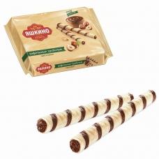 Вафли-трубочки ЯШКИНО 'Ореховые', с шоколадно-ореховой начинкой, 190 г, КВ328