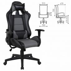 Кресло компьютерное BRABIX 'GT Racer GM-100', две подушки, экокожа, черное/серое, 531926