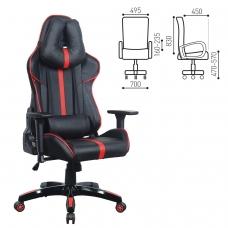 Кресло компьютерное BRABIX 'GT Carbon GM-120', две подушки, экокожа, черное/красное, 531931