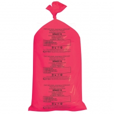 Мешки для мусора медицинские, в пачке 20 шт., класс В красные, 100 л, 60х100 см, 15 мкм, АКВИКОМП