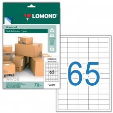 Этикетка самоклеящаяся 38х21,2 мм, 65 этикеток, белая, 70 г/м2, 50 л., LOMOND, 2100215, 2100215