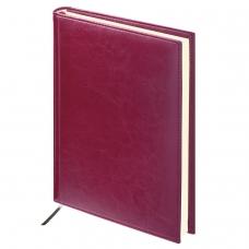 Ежедневник BRAUBERG недатированный, А5, 138х213 мм, 'Imperial', под гладкую кожу, 160 л., бордовый, кремовый блок, 123415
