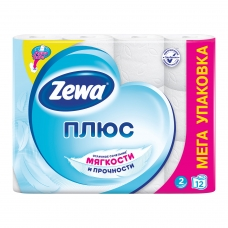 Бумага туалетная бытовая, спайка 12 штук, 2-х слойная 12х23 м, ZEWA Plus, белая, 144090