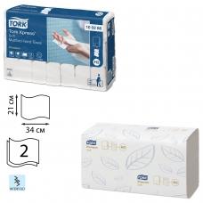 Полотенца бумажные 110 штук, TORK Система H2 Premium, КОМПЛЕКТ 21 штука, 2-слойные, белые, 21х34, Interfold, 100288