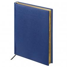 Ежедневник BRAUBERG недатированный, А5, 138х213 мм, 'Iguana', под зернистую кожу, 160 л., темно-синий, кремовый блок, золотой срез, 125091