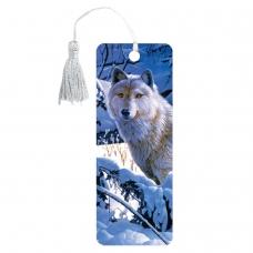 Закладка для книг 3D, BRAUBERG, объемная, 'Белый волк', с декоративным шнурком-завязкой, 125752