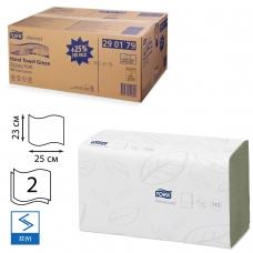 Полотенца бумажные, 250 шт., TORK Система H3 Advanced, комплект 15 шт., 2-слойные, зеленые, 25х23, ZZV, 290179