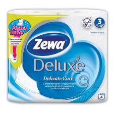 Бумага туалетная бытовая, спайка 4 шт., 3-х слойная 4х19 м, ZEWA Delux, белая, 3228