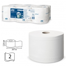 Бумага туалетная 207 м, TORK Система T8 SmartOne, комплект 6 шт., Advanced, 2-слойная, белая, 472242