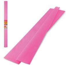 Цветная бумага крепированная плотная, растяжение до 45%, 32 г/м2, BRAUBERG, рулон, розовая, 50х250 см, 126532