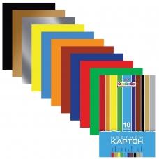 Картон цветной А4 МЕЛОВАННЫЙ, 10 листов 10 цветов, в папке, HATBER, 195х280 мм, Creative, 10Кц4 05809, N049600