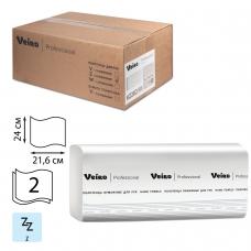 Полотенца бумажные 200 шт., VEIRO Система H2, комплект 21 шт., Comfort, 2-слойные, белые, 24х21,6, Z, KZ202