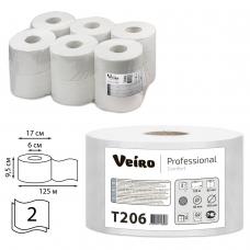 Бумага туалетная 125 м, VEIRO Professional Система T2, комплект 12 шт., Comfort, 2-слойная, T206
