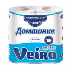 Полотенца бумажные бытовые, спайка 2 шт., 2-х слойные 2х12,5 м, VEIRO 'Домашние', белые, 3п22