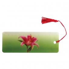 Закладка для книг с линейкой, 3D-объемная, BRAUBERG 'Удивительный цветок', с декоративным шнурком, 128095