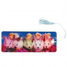 Закладка для книг с линейкой, 3D-объемная, BRAUBERG 'Кролики и цыплята', с декоративным шнурком, 128097
