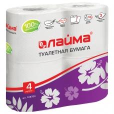 Бумага туалетная бытовая, спайка 4 шт., 3-х слойная 4х18 м, ЛАЙМА, белая, 128724