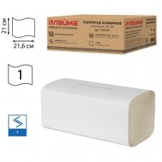 Полотенца бумажные, 250 шт., ЛАЙМА Система H3, комплект 20 шт, эконом, натуральные белые, 21х21,6, ZZV