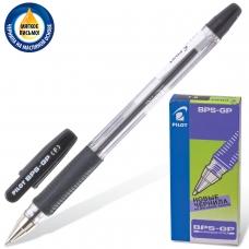 Ручка шариковая масляная с грипом PILOT 'BPS-GP', ЧЕРНАЯ, корпус прозрачный, узел 0,7 мм, линия письма 0,32 мм, BРS-GP-F