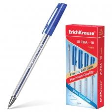 Ручка шариковая масляная ERICH KRAUSE 'Ultra-10', СИНЯЯ, корпус прозрачный, узел 0,7 мм, линия письма 0,26 мм, 13873