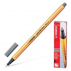 Ручка капиллярная STABILO 'Point 88', ТЕМНО-СЕРАЯ, корпус оранжевый, линия письма 0,4 мм, 88/96