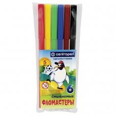 Фломастеры CENTROPEN, 6 цветов, 'Пингвины', смываемые, вентилируемый колпачок, полибег, 7790/6