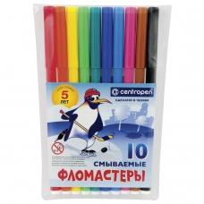 Фломастеры CENTROPEN, 10 цветов, 'Пингвины', смываемые, вентилируемый колпачок, полибег, 7790/10