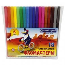 Фломастеры CENTROPEN, 18 цветов, 'Пингвины', смываемые, вентилируемый колпачок, полибег, 7790/18