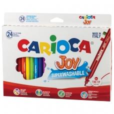 Фломастеры CARIOCA 'Joy', 24 цвета, суперсмываемые, вентилируемый колпачок, картонная коробка, 40615