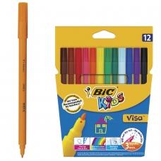Фломастеры BIC 'VISA', 12 цветов, суперсмываемые, вентилируемый колпачок, европодвес, 888695