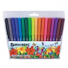 Фломастеры BRAUBERG 'Wonderful butterfly', 18 цветов, вентилируемый колпачок, пласт. упаковка, увеличенный срок службы, 150523