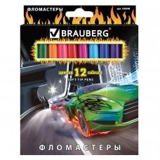 Фломастеры BRAUBERG 'InstaRacing', 12 цветов, вентилируемый колпачок, карт. упаковка, выборочный лак, увел. срок службы, 150548