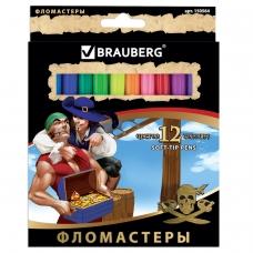 Фломастеры BRAUBERG 'Корсары', 12 цветов, вентилируемый колпачок, картонная упаковка с золотистым тиснением, 150564