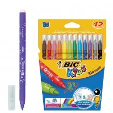 Фломастеры BIC 'Kid Couleur', 12 цвета, суперсмываемые, вентилируемый колпачок, европодвес, 841798