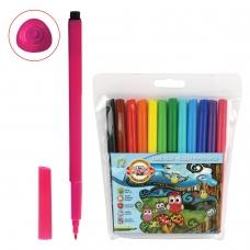 Фломастеры KOH-I-NOOR 'Совы', 12 цветов, смываемые, трехгранные, пластиковая упаковка, европодвес, 771012AB01TE