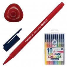 Фломастеры STAEDTLER 'Triplus', 10 цветов, трехгранные, пластиковый футляр, 323 SB10