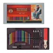 Набор художественный KOH-I-NOOR 'Mondeluz', 32 предмета, металлическая коробка, 3796032001PL
