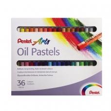 Пастель масляная художественная PENTEL 'Oil Pastels', 36 цветов, круглое сечение, картонная упаковка, PHN4-36