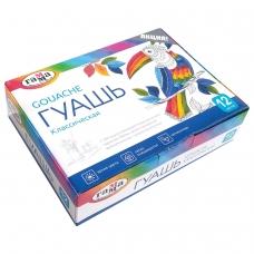 Гуашь ГАММА 'Классическая', 12 цветов по 20 мл, без кисти, картонная упаковка, 22103012