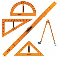 Набор чертежный для классной доски 2 треугольника, транспортир, циркуль, линейка 100 см, BRAUBERG, 210383