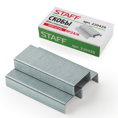 Скобы для степлера STAFF № 24/6, 1000 штук, в картонной коробке, до 30 листов, 220429 224 220429 в Казани